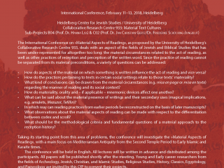 "CfP: Int. Conference ""Material Aspects of Reading"""